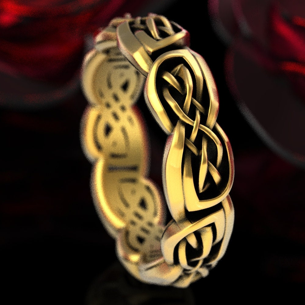 Made in Your Size CR-37 10K 14K 18K Gold Palladium or Platinum Eternity Wedding Ring With Cut-Through Celtic Woven Knotwork in Sterling