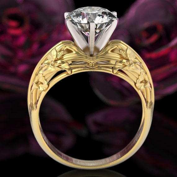 Gold Calla Lilly Solitaire Ring, Art Nouveau Engagement Ring, Floral Wedding Ring, 10K 14K 18K Gold, or Platinum, Custom Size 6004