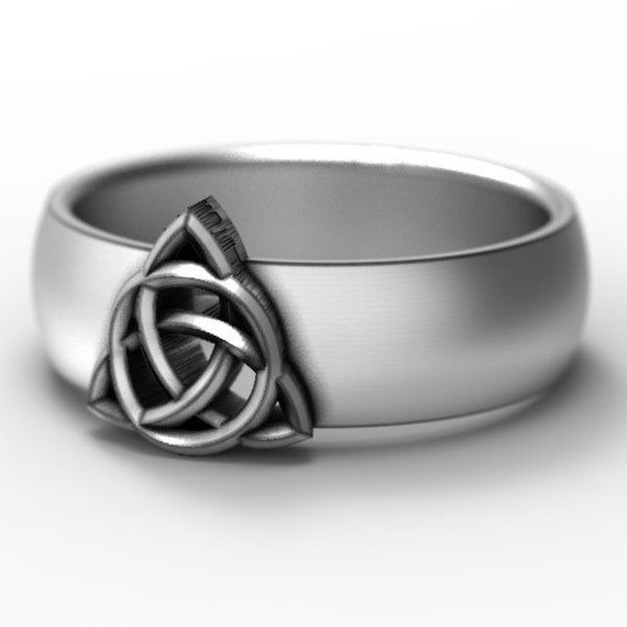 Celtic Signet Ring With Trinity Interweave Knot Design in Sterling Silver, Made in Your Size CR-158