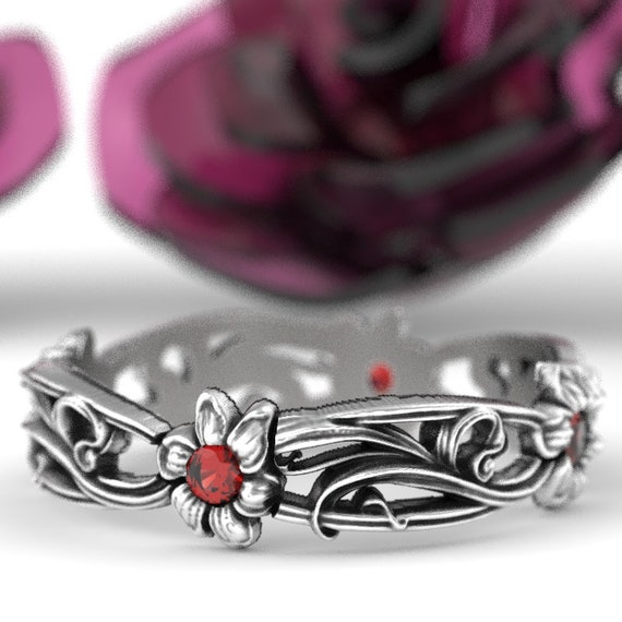 Art Nouveau Sterling Silver Floral Design Ring with Ruby, Made in Your Size CR-5018