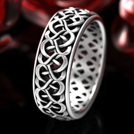 Heart Wedding Band, Woven Love Knot Ring, Celtic Wedding Ring With Hearts, Unique Heart Knot Ring in Sterling Silver, Made in Your Size 1335