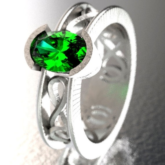 Celtic Wedding Ring with Emerald Stone and Inifinty Knot Design in Sterling Silver, Made in Your Size CR-13d