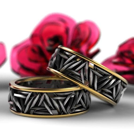 Valknut Knot 2-Tone Viking Ring Set Made in 10K Gold & Silver, Valknut Wedding Rings Set, Norse Rune Ring Set, Sterling Rune Rings 1189