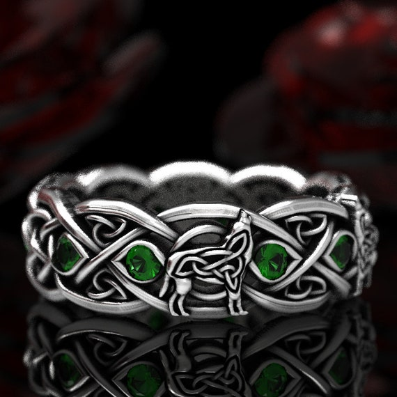 Sterling Silver Celtic Wolf Ring with Emerald, Eternity Band Celtic Wolf Jewelry, Custom Ring Design 1267