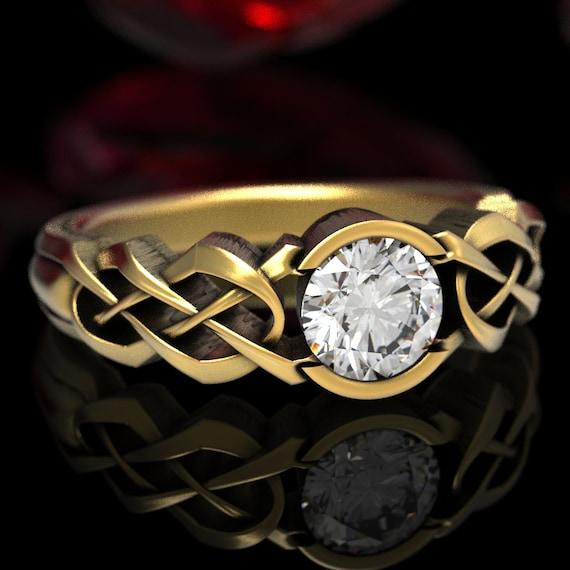 Celtic Moissanite Engagement Ring, Gold Celtic Knot Ring, Moissanite Solitaire Ring, Womens Moissanite Ring, 10K 14K 18K Gold Platinum, 414