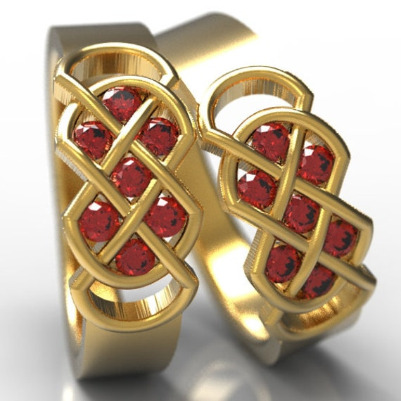 Celtic Ruby Wedding Ring Set With Infinity Knot Design in Sterling Silver, 10K 14K 18K Gold, Palladium or Platinum Made in Your Size CR-771