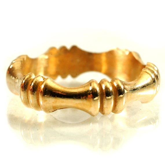 Gold Stackable Ring Bamboo Art Nouveau Design in 10K 14K 18K or Palladium, Made in Your Size Cr-5037