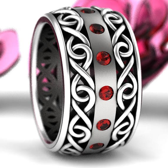 Celtic Wedding Ring With Ruby and Cut-Through Infinity Symbol Design in Sterling Silver, Wide Wedding Band, Made in Your Size CR-510