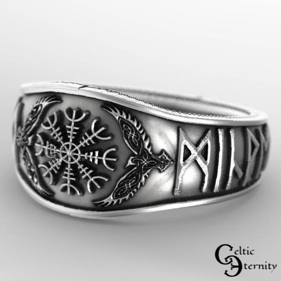 Sterling Viking Ring, Odin Ring, Norse Raven Ring, Helm of Awe Ring with Custom Runes, Mens Wedding Band, Rune Ring, Viking Wedding, 1160