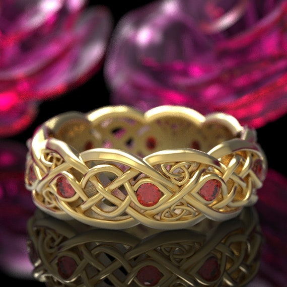 Infinity Wedding Band With Rubies, Gold Celtic Ring, Unique Wedding Ring, Celtic Wedding Band, Made 10K 14K 18K Gold or Platinum CR1052