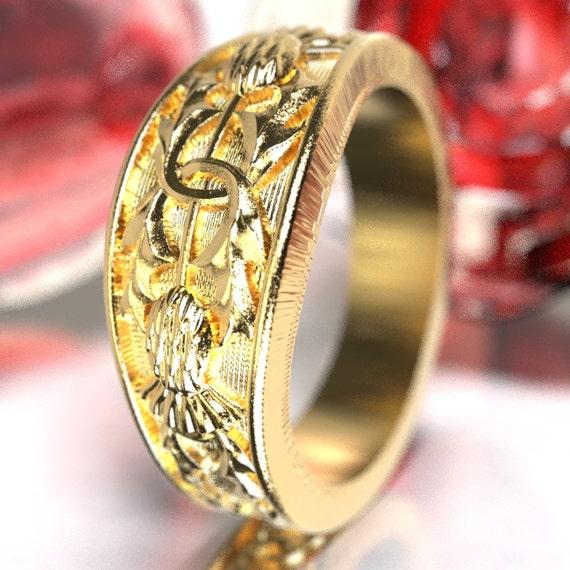 Scottish Thistle Ring, 10K 14K or 18K Gold Wedding Ring, Unique Ring, Botanical Jewelry, Handcrafted Rings, Platinum or Palladium 5066