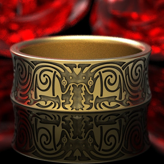 Gold Engraved Norse Wedding Ring With Whorled Design in 10K 14K 18K or Platinum, Made in Your Size 1346