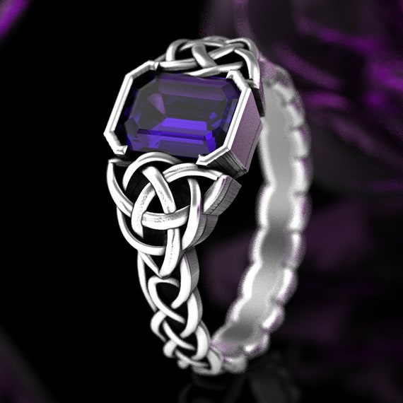Trinity Knot Engagement Ring with Amethyst, Sterling Silver Triquetra Ring, Celtic Knot Amethyst Wedding Band, Handmade in Your Size, CR1306