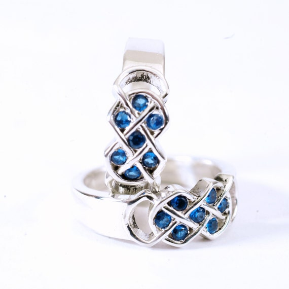 Celtic Blue Sapphire Ring Set With Infinity Knot Design in Sterling Silver, 10K 14K 18K Gold, Palladium or Platinum Made in Your Size CR-771