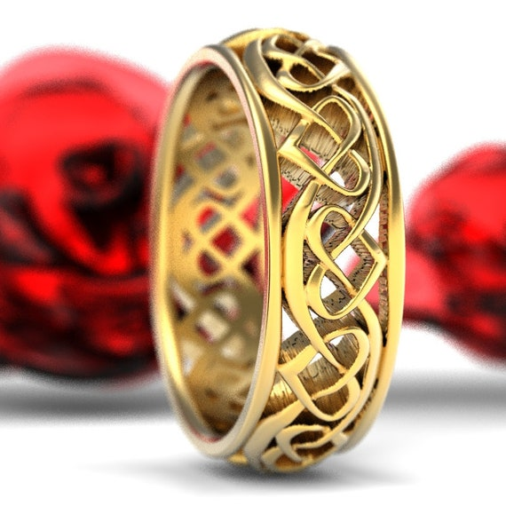 Heart Knot Celtic Wedding Ring Woven Knotwork Design in 10K 14K 18K Gold, Palladium or Platinum Made in Your Size 1245