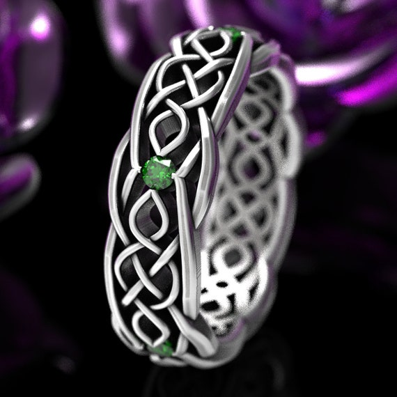 Celtic Wedding Ring With Cut-Through Infinity Symbol Pattern With Emerald Stones in Sterling Silver, Made in Your Size CR-1049