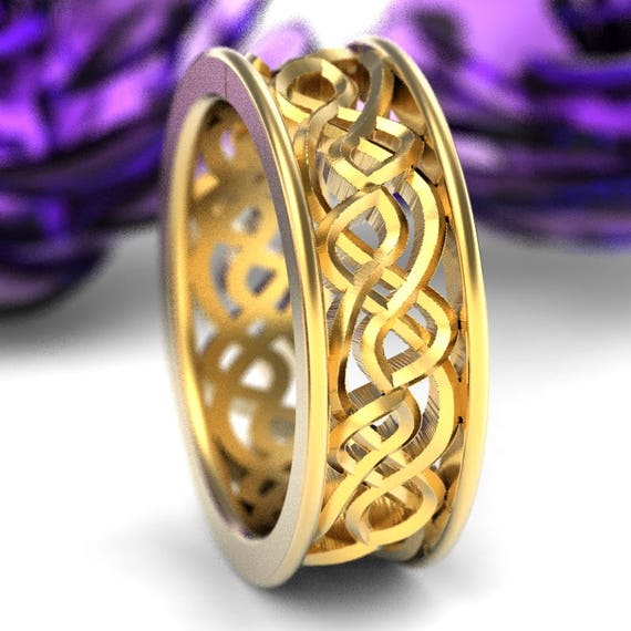 Gold Wedding Ring, Celtic Knot Ring, Mens Celtic Wedding Band, Unique Wedding Ring, 10K 14K 18K Gold or Platinum CR-72