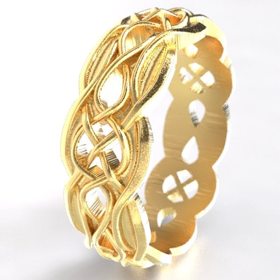 Gold Celtic Wedding Ring Partial Cut-Through Infinity Symbol Pattern & Quaternary Knots 10K 14K 18K Gold, Palladium or Platinum 1054