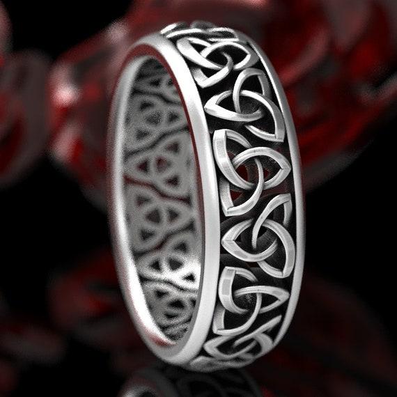 Celtic Wedding Ring, Trinity Knot Mens Wedding Ring, Sterling Silver Celtic Wedding Band, Mens Celtic Wedding Ring In Silver CR-200