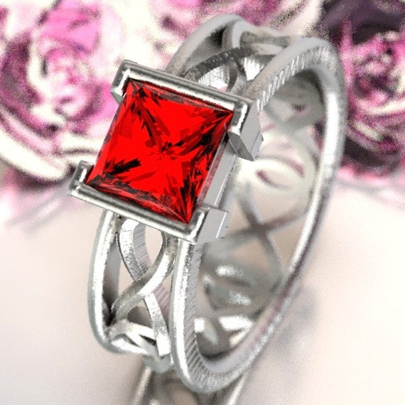 Celtic Ruby Princess Cut Ring With Infinity Symbol Design in Sterling Silver, 10K 14K 18K, Palladium, or Platinum  Made in Your Size CR-1028
