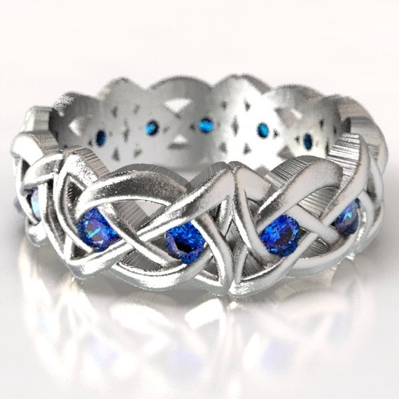 Celtic Cut-Through Dara Style Knot with Blue Sapphires in Sterling Silver, 10K 14K 18K Gold, Palladium or Platinum Made in Your Size Cr-1064