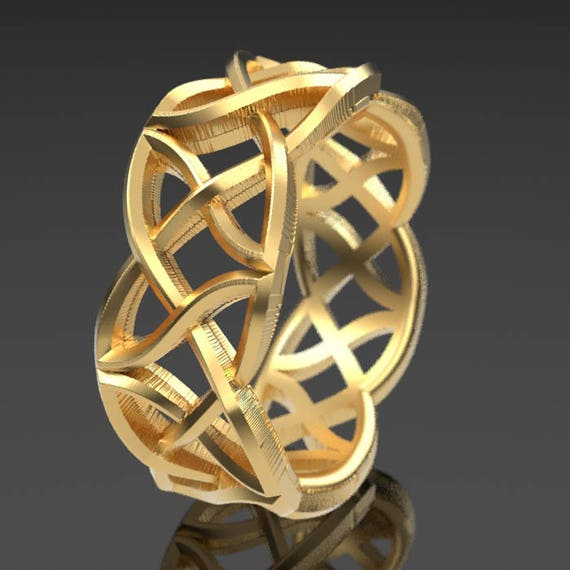 Celtic Wedding Ring Waves of Braided Kisses Dara Knotwork Design Made in 10K 14K 18K Gold or Palladium, Made in Your Size Cr-1021