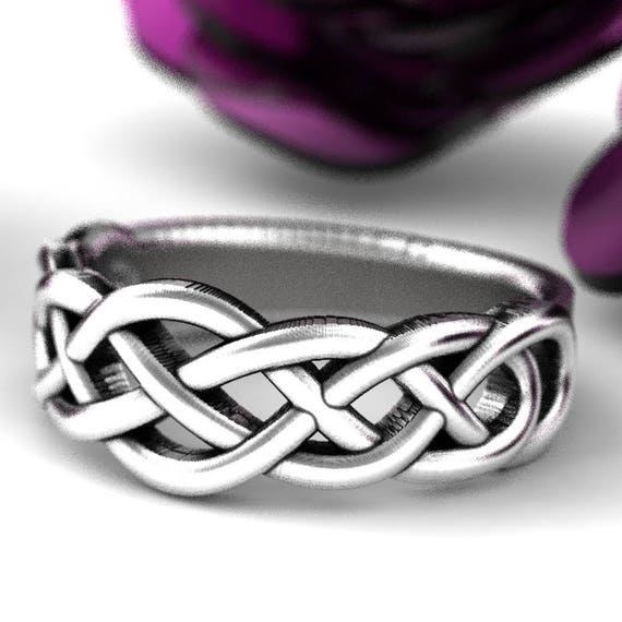 Celtic Wedding Ring With Woven Knotwork Design in Sterling Silver, Celtic Knot Ring, Infiniry Knot Ring, Woven Wedding Band Sterling CR-763