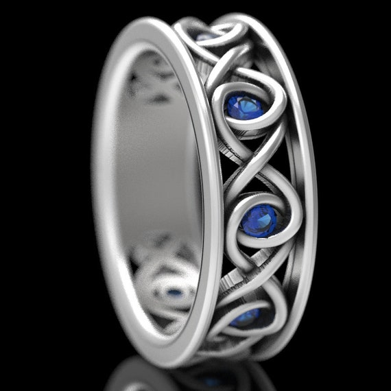 Celtic Blue Sapphire Wedding Ring With Infinity Knot Design in Sterling Silver, Made in Your Size CR-511