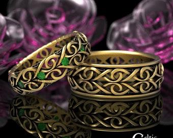 Gold Celtic Wedding Ring Set, Emerald Platinum Wedding Band, His Hers Wedding Rings, Matching Wedding Bands, Infinity Wedding Band 1421 1422