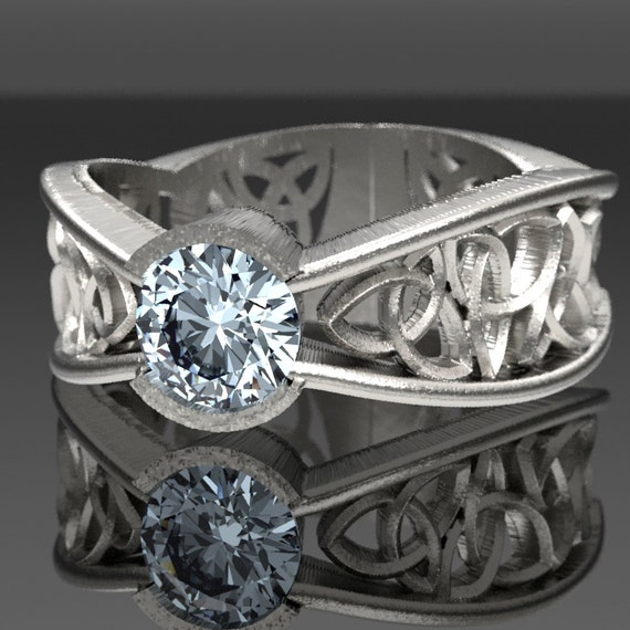 Celtic White Sapphire Ring With Trinity Interweave Knot Design in Sterling Silver, Made in Your Size CR-282a