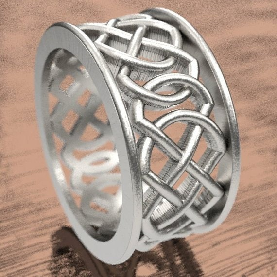 Celtic Wedding Ring With Murphy Infinity Knotwork in Sterling, 10K 14K 18K Gold, Palladium or Platinum Made in Your Size CR-268