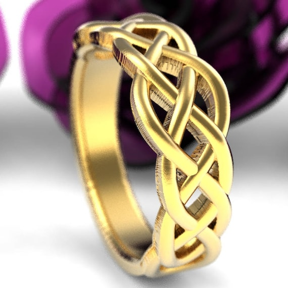 Celtic Wedding Ring With Woven Knotwork Design in 10K 14K 18K Gold, or Platinum Made in Your Size CR-763