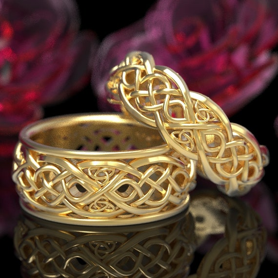 Infinity Wedding Band Set, Gold Celtic Ring Set, Celtic Wedding Band Set, His & Hers Matching Rings 10K 14K 18K Gold or Platinum 1096 1052