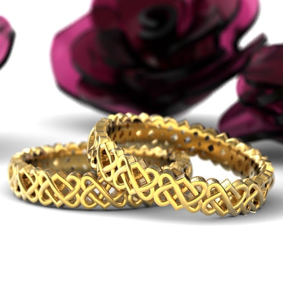 Gold Celtic Wedding Ring Set With Heart Knotwork Design in 10K 14K 18K Gold or Palladium, Made in Your Size Cr-1033