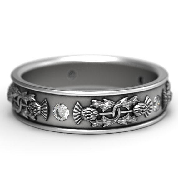 Thistle Ring Band with round Moissanite stones, 925 Sterling Silver Scottish Ring, Unique Rings for Her, Botanical Jewelry, Custom Size 5073