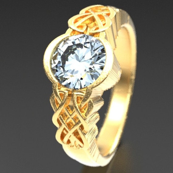 Gold Celtic Moissanite With Dara Knot Style Design in 10K 14K 18K or Platinum, Made in Your Size Cr-1032