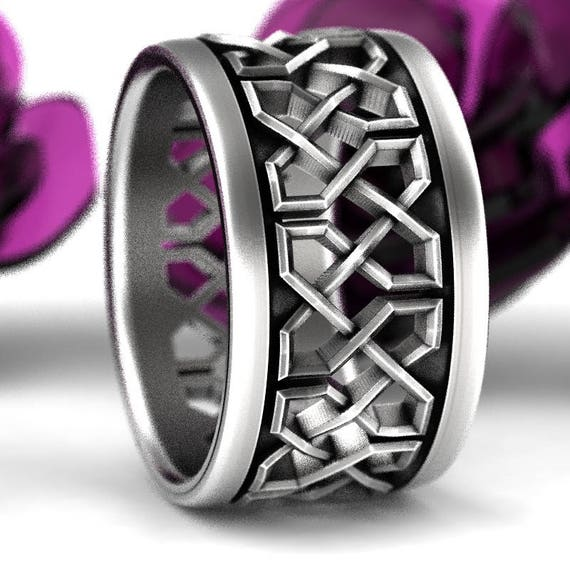 Celtic Wedding Ring With Celtic Knot Design in Sterling Silver, Wide Wedding Band, Mens Wedding Ring Made in Your Size CR-741b