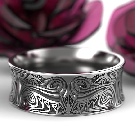 Engraved Norse Wedding Ring With Dramatic Design in Sterling Silver, Made in Your Size CR-5088