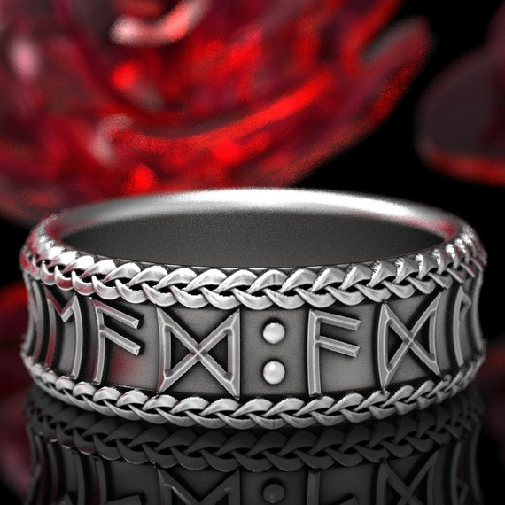 RESERVED FOR Rikz White Gold Nordic Rune Ring, Custom Width, Made in 10K White Gold with Custom Runes 5102
