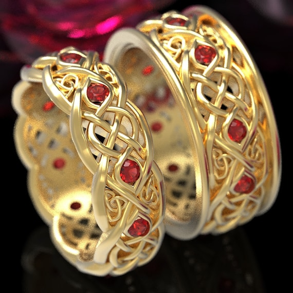 Gold Wedding Band Set With Rubies, Gold Celtic Ring Set, Celtic Wedding Band, 10K 14K 18K Gold Or Platinum Handcrafted Size 1096 & 1052