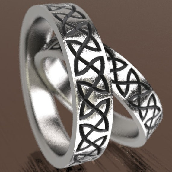 Celtic Wedding Ring Set With Classy Dara Knotwork Design in Sterling Silver, Wedding Ring Made in Your Size CR-748