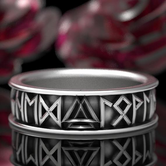 RESERVED FOR Julianne Sterling Silver Nordic Rune Ring with Valknut, Rune Wedding Band, Custom Rune Jewlery Custom Size 5101
