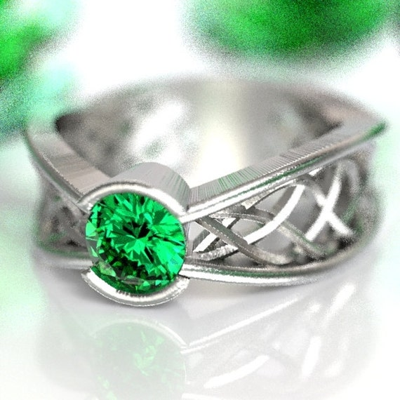 Celtic Emerald Ring With Interweave Knot Design in Sterling Silver, Made in Your Size CR-277b