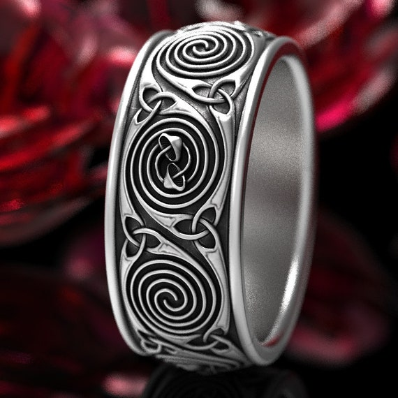 Mushroom Spiral Wedding Ring With Celtic Design and Triquetra in Sterling Silver, Mushroom Wedding Band, Silver Mushroom Ring CR-1285