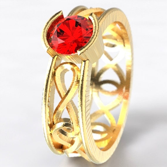Gold Celtic Ruby Ring With Infinity Symbol Design in 10K 14K 18K or Palladium, Made in Your Size Cr-1027