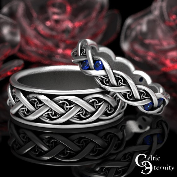 His Hers Sapphire & Silver Celtic Wedding Band Set, Modern Wedding Bands, Matching Wedding Rings, Eternity Infinity Ring, 1418 + 1419