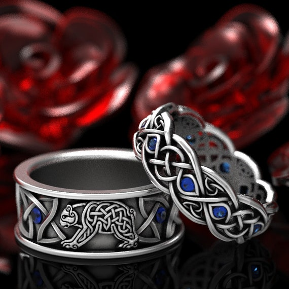 RESERVED For Jayde 2 Ring Set Sterling Silver Bear and Blue Sapphires Band and Infinity Wedding Band with Sapphires, Custom CR-1126 CR-1052