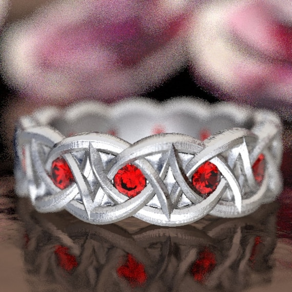 Celtic Ruby Wedding Ring With Dara Knot Design in Sterling Silver, Made in Your Size CR-1036