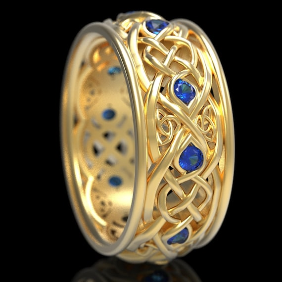 Infinity Wedding Band With Sapphires, Gold Celtic Ring, Unique Wedding Ring, Celtic Wedding Band, Made 10K 14K 18K Gold or Platinum 1096