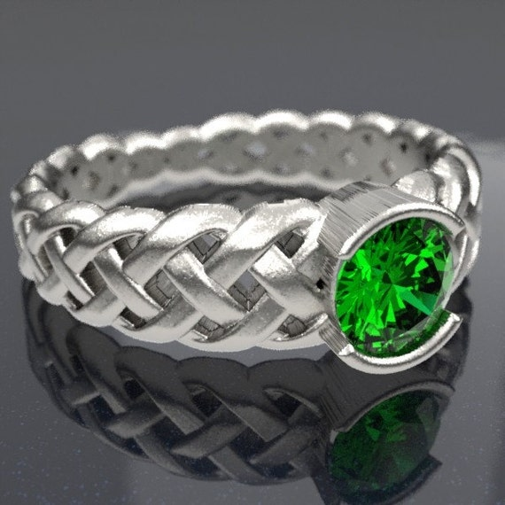 Celtic Emerald Engagement Ring With Braided Cut-Through Knotwork Design in Sterling Silver, Made in Your Size CR-760